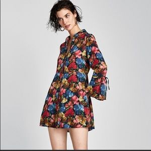 Zara Red Blue Floral Black shirt dress with shorts